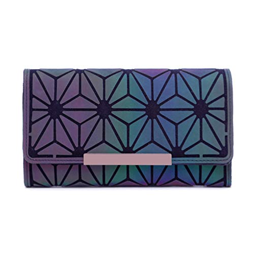 (Geometric Rhomboids Lattice Long Wallet and Purse - Fashion Luminous Trifold Lattice Purse Clutch for Women NO.3 )