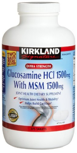 Kirkland Glucosamine HCl with MSM - 375 Tablets Each (Pack of 4)