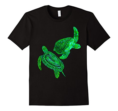 Mens Two Tribal Green Sea Turtles T-Shirt Large Black Turtle Green T-shirt