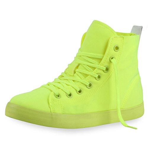 Sportlich Sneaker Damen Schnürer High Slipper Neongelb boots Top Nuovo best Halbschuhe Iw4Cx8qnU