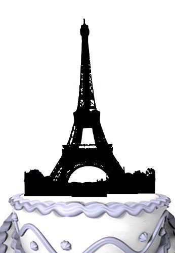 Meijiafei Custom Acrylic Cake Topper -Eiffel Tower - Silhouette Bridal