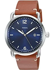 Fossil Men's The Commuter Quartz Stainless Steel and Leather Casual Watch, Color: Silver-Tone, Brown (Model: FS5325)