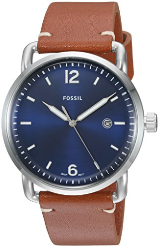 (Fossil Men's The Commuter Quartz Stainless Steel and Leather Casual Watch, Color: Silver-Tone, Brown (Model: FS5325))