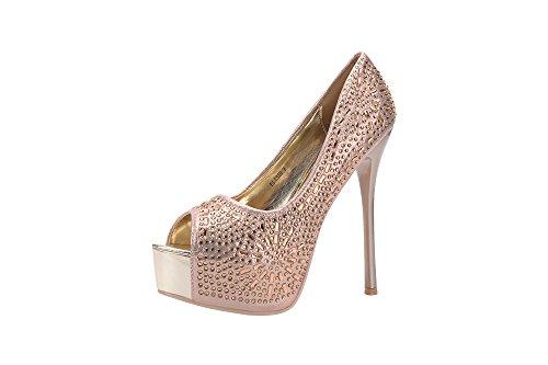 Mila Lady Elisie Peep Toe Sparkles Platform Lady Sky High Heels, Champagne 5.5 -