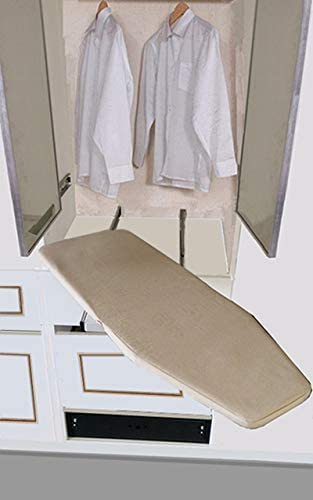 Silver Grey Homebasix Closet Pull-Out Retractable Ironing Board Stow Away in The Cabinet Easy to Install