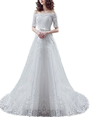 Sarahbridal Women's Wedding Dress Vintage Lace Applique Sequin Bridal with Long Sleeve Ivory US16 by Sarahbridal