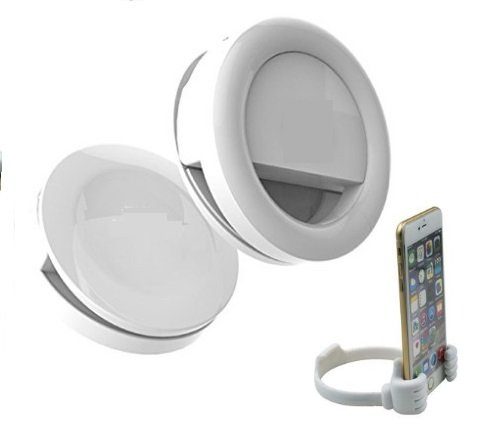 Selfie Ring Light, COMES WITH ONE FREE STAND HOLDER, Selfie Light 3-Level of Brightness [Rechargable Battery] Selfie LED Camera Lamp[36 LED] for iPhone iPad Samsung Galaxy Photography Phones (WHITE) by ARUSS