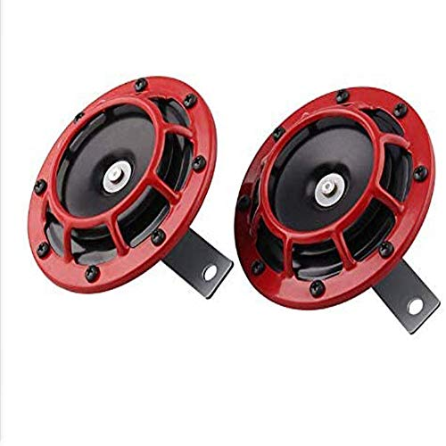 Kaysection Supertone 12V High Tone/Low Tone Twin Horn Kit with Red Protective Grill,2 Horns,car Horn