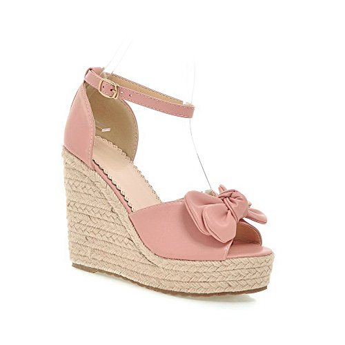 AgooLar Women's Nappa Open Toe High Heels Buckle Solid Sandals Pink