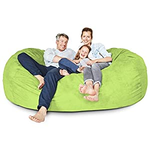 Lumaland Luxury 7-Foot Bean Bag Chair with Microsuede Cover Light Green, Machine Washable Big Size Sofa and Giant Lounger Furniture for Kids, Teens and Adults