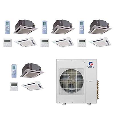Gree MULTI36CCAS406-36,000 BTU Multi21+ Quad-Zone Ceiling Cassette Mini Split Air Conditioner Heat Pump 208-230V(12-12-1