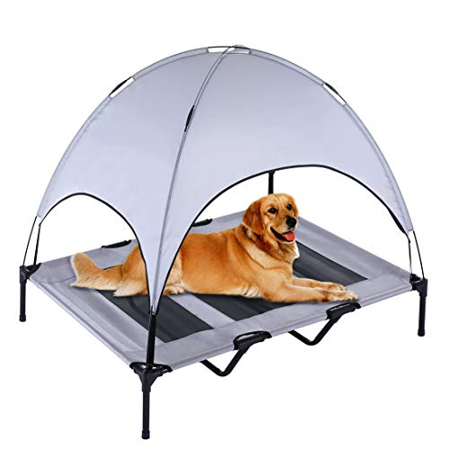 SUPERJARE XLarge Outdoor Dog Bed | Elevated Pet Cot with Canopy | Portable for Camping or Beach | Durable 1680D Oxford Fabric | Extra Carrying Bag - Silver Gray