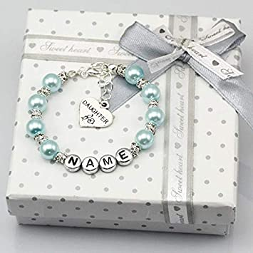 Gabcus New Name Personalised Girls Baby Birthday Gift Charm Blue Bracelet with Box Metal Color: Love, Main Stone Color:, Length: size5