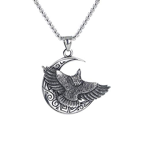 AMGJ Retro Soaring Eagle Moon Stainless Steel Pendant Necklace for Men Chain Length 24 inch