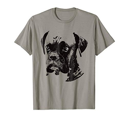 T-shirt Dogs Boxer Mens (Mens Boxer Dog T-Shirt Medium Slate)