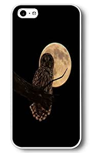 iPhone 5C Case, 5C Cases - Moon Owl White Plastic Hard Bumper Case Cover for iPhone 5C