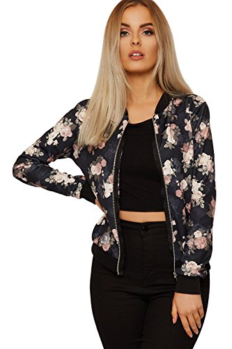 Bomber Size Print Ladies Front Black New Plus Floral Neck Sleeve Zip Multi Crew Long Womens Roses Jacket Black gwwaOq4R
