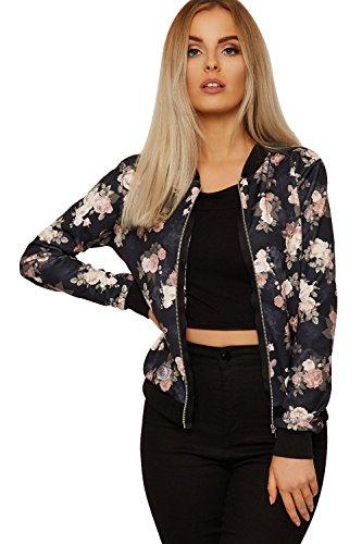 Bomber Size Print Ladies Front Black New Plus Floral Neck Sleeve Zip Multi Crew Long Womens Roses Jacket Black gwwaOq4R