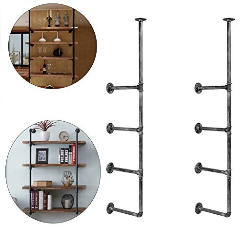Industrial Hanging Shelf 4 Tier Retro Wall Mount Iron Pipe Hung Brackets DIY Storage Shelving Bookshelf Hardware Decor for Home Farmhouse Kitchen Office Living Room (2 Set)