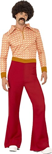 Authentic 70s Guy Costumes For Men (Authentic 70's Guy Costume Red Chest 42