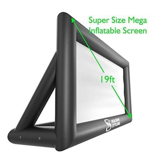 Holiday Styling - Protector de visualización para proyector de exterior hinchable – Paquete con cuerda, soplador + estacas...