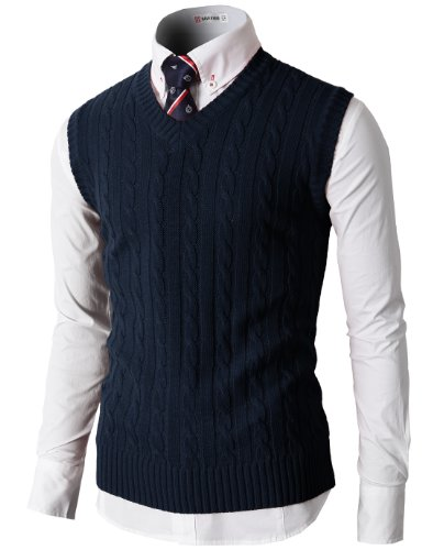 (H2H Mens Casual Twisted Pattern V-Neck Sleeveless Pullover Sweater Vest Navy US S/Asia M (KMOV037))