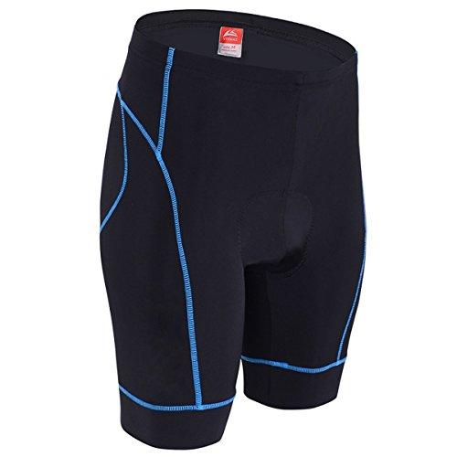 """ALLY 3D Profesional Hombres Moldeado Acolchado Anti-Bac Ciclismo Culottes con Aire de Alta Permeabilidad - M/L/XL/XXL/XXXL opcional (Negro/Azul, L 32""""-34"""")"""