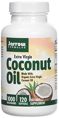 Jarrow Formulas Coconut Oil 100% Organic Extra Virgin, 1000 mg, 120 Softgels