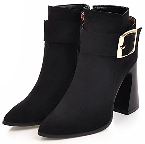 Easemax Women's Stylish High Block Heel Pointed Toe Side Zipper Buckle Short Ankle Booties Black dCSThCf3
