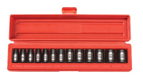 12 Deep Point Socket - TEKTON 3/8-Inch Drive Shallow Impact Socket Set, Metric, Cr-V, 12-Point, 7 mm - 19 mm, 13-Sockets | 47916