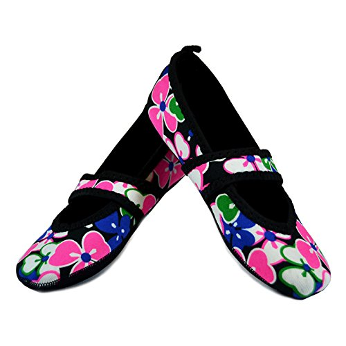 Nufoot Betsy Lou Women's Shoes, Best Foldable & Flexible Flats, Slipper Socks, Travel Slippers & Exercise Shoes, Dance Shoes, Yoga Socks, House Shoes, Indoor Slippers, Black, Large Flowers Black