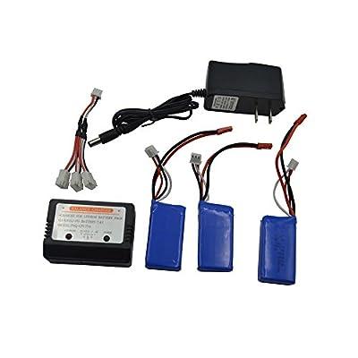 Blomiky 3 Pack 7.4V 850mAh Lipo Battery and Charger for JXD 516W WLTOYS V912 V262 V353 Quadcopter 7.4V 850mAH 3