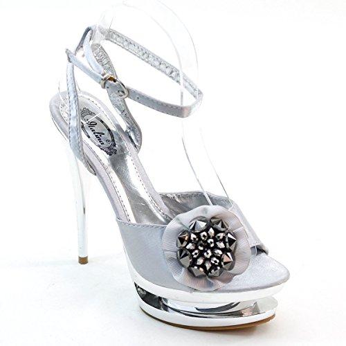New Brieten Women's Flower Rhinestone Ankle Strap High Heel Slingback Sliver Pumps (Flower Slingback)