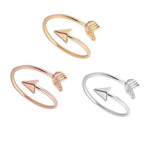 WLL Gold Silver Open Adjustable Arrow Wrap Ring for Girls (3 psc) (Wrap Arrow Ring)