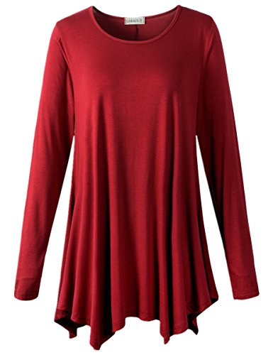 (LARACE Womens Long Sleeve Flattering Comfy Tunic Loose Fit Flowy Top (1X, Wine Red))