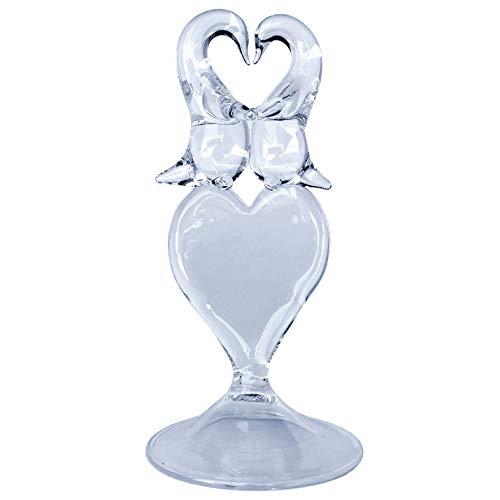 Hand Blown Glass Penguin Heart Wedding Cake Topper Crystal -