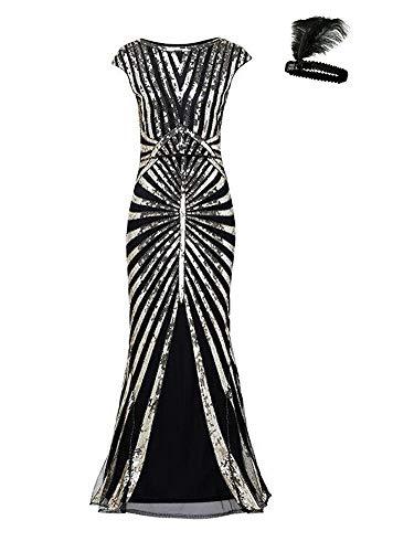 Femmes Plancher 1920s Noir Soirée Black Gatsby Longueur Robe Gold De MLUzpqSVG