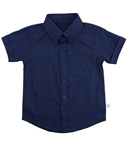 - RuggedButts Baby/Toddler Boys Navy Dobby Short Sleeve Button Down Shirt - 18-24m