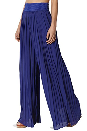 TheMogan Junior's Elastic Waist Georgette Pleated Wide Leg Pants Royal Blue ONE Size