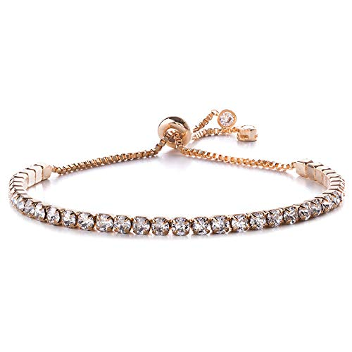 Devin Rose Adjustable Bolo Style Tennis Bracelet for Women Made with 3mm Swarovski Crystal in Rose Gold Plated Brass (Pink)