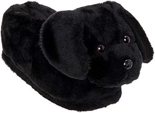 - Silver Lilly Black Lab Slippers - Plush Labrador Dog Slippers w/Platform (Black, Large)