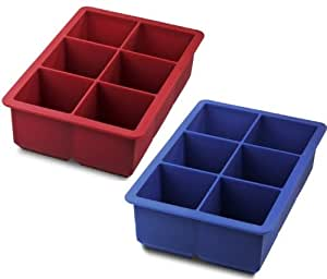 Tovolo King Cube Ice Trays, Pack of 2 (Blue/Red)