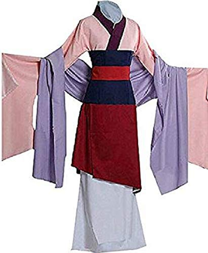 Peachi Adult Heroine Hua Mulan Dress Halloween Costume Cosplay Party,Pink,Small