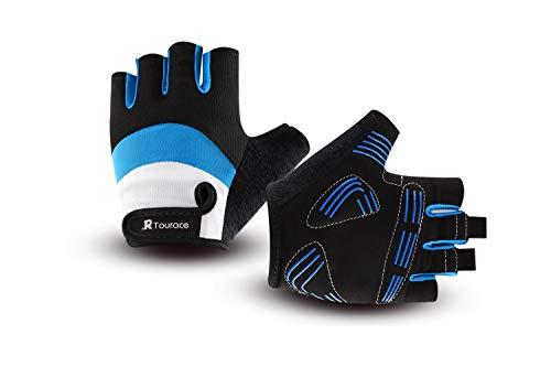 Tourace Cycling Gloves Shock-Absorbing Gel Pad Anti-Slip Breathable Lycra Mesh Road Bicycle Bike Riding Men Women Half Finger Gloves - Finger Anti Slip Glove