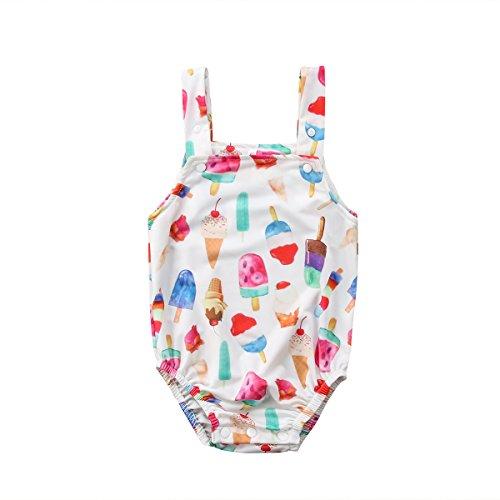Price comparison product image Newborn Baby Boys Girls Summer Harness Ice Cream Print Romper Jumpsuit Bodysuit Playsuit (80)