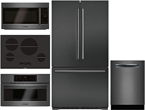 "Bosch 5 Piece Kitchen Package with B21CT80SNB 36"" French Door Refrigerator, NIT8068UC 30"" Electric Cooktop,HMV8044U 30""Microwave,HMC80242UC 30"" Electric and SHPM78W54N 24"" Built In Dishwasher"