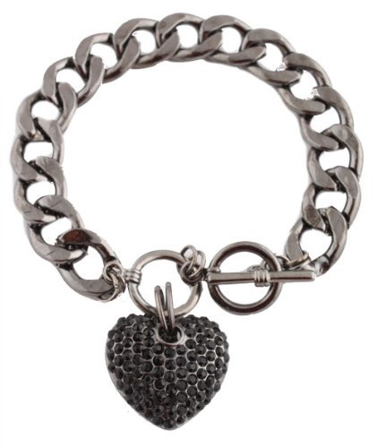 Jet Black Iced Out 3D Heart Charm Locket Style 8.5 Inch Link Chain Toggle Bracelet (S-1884) Charm Locket Toggle Bracelet