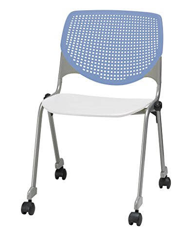 (KFI Seating Kool Poly Stack Chair with Casters, Peri Blue Back, White Seat, Peril)