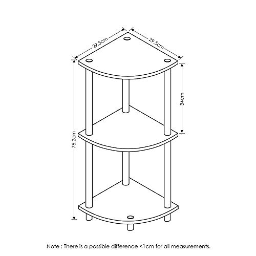 Furinno Turn-N-Tube 3-Tier Corner Display Rack Multipurpose Shelving Unit, Walnut/Brown