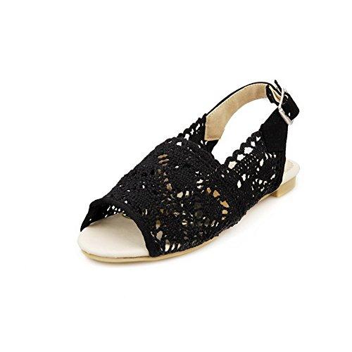 VogueZone009 Mujeres Hebilla Puntera Abierta Sólido Sandalias de vestir con Metal Negro